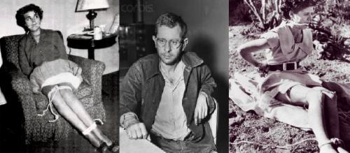 Foto das vítimas fotografadas por Harvey, e no centro, a foto de Harvey