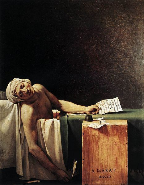 "arthistoryblog:""Death of Marat"" a 1793 painting in the Neoclassical style by Jacques-Louis DavidI did a screen of this over a bath ad in college. Oh printmaking with emilyvanhoff."