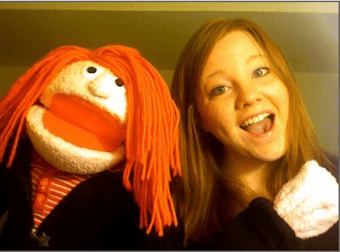 My friend, who made Karagh, said he would help me make a costume for Halloween if I get back to him soon enough. I think I want to go as my muppet. I want a foam head to put over my head that looks exactly like her, with yarn hair, and I would wear a black sweatshirt, and have sticks hanging from my sleeves, and I would carry her around. And, oh my fucking god, I JUST thought of this: What if I print out a picture of my face, with eye holes, and put it on her face like a mask? What if I go as my muppet for Halloween and she goes as me? Oh, fuck, I have to go lie down. I'm too good for this Earth.