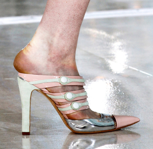 A model's foot at the Louis Vuitton runway show in Paris, one of the last shows of fashion month. (via Styleite)