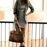 Combination-Blazer,striped dress,handbag and boots