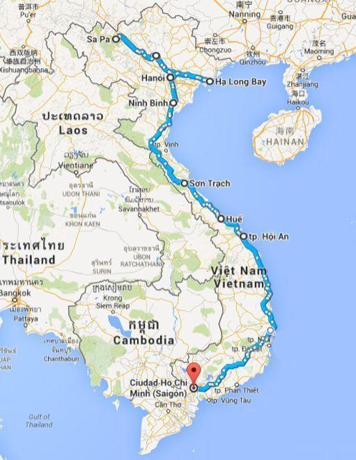 Vietnam, Asia, Mapa Ruta - 3000km-Viajes-Aventura-Alternativos-Grupo-Mochilero