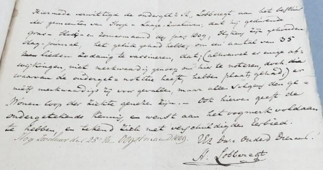 Document 1809 over koepok vaccinatie door chirurgijn Hendrik Lobberegt
