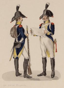 Twee militairen van de 7e Halve Brigade van het Bataafse leger