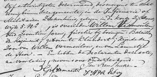 Overlijdensregister Willem Vermeulen 1814