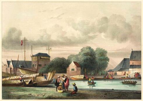Haven van Batavia rond 1840