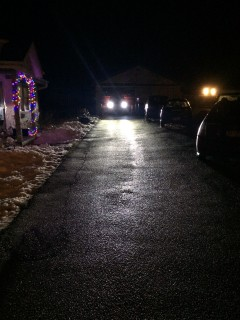 What my driveway looks like the LED headlights on it.