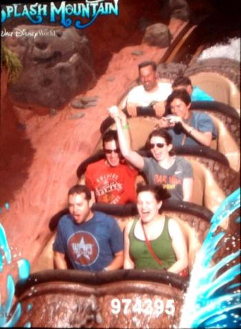"""Ironically we got all of the ride photos except this one, which makes me a little sad. Ben even says this is the one where it looks like I have a """"fun scream."""""""