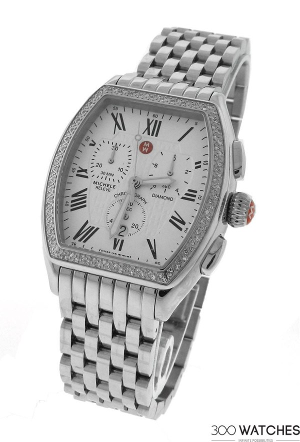 Womens Michele Releve Stainless Steel Diamond