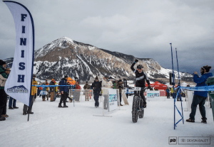 Beisel at the finish line of the Fat Bike World Championships.  Photo by Devon Balet via Pinkbike