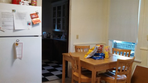 Our table o' snacks and the pantry