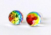 Swarovski Earrings Rainbow Balls Vitrail Changing Colors ...