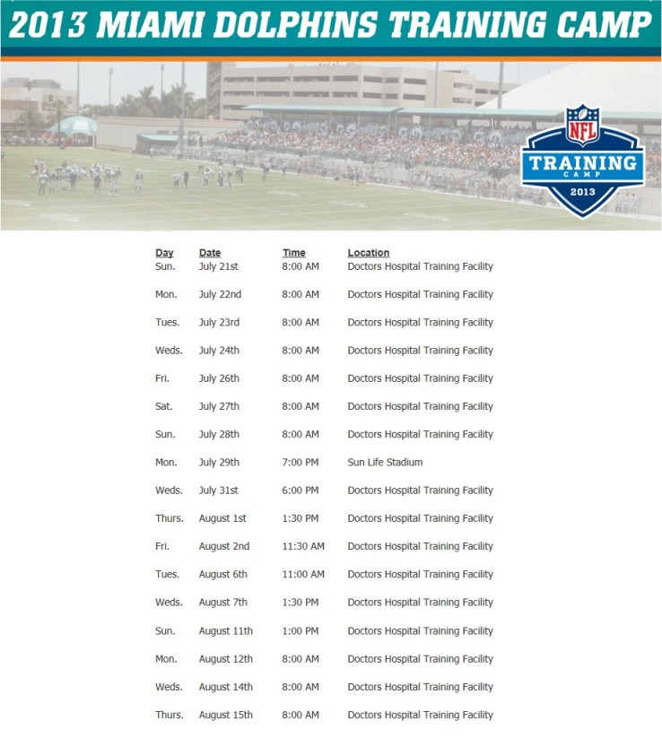 Dolphins Training Camp Schedule 2013
