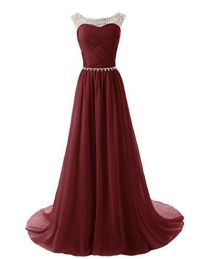 Custom Made A Line Round Neckline Maroon Long Prom Dresses ...