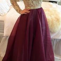 A Line Long Sleeves Maroon Prom Dress With Golden Top ...