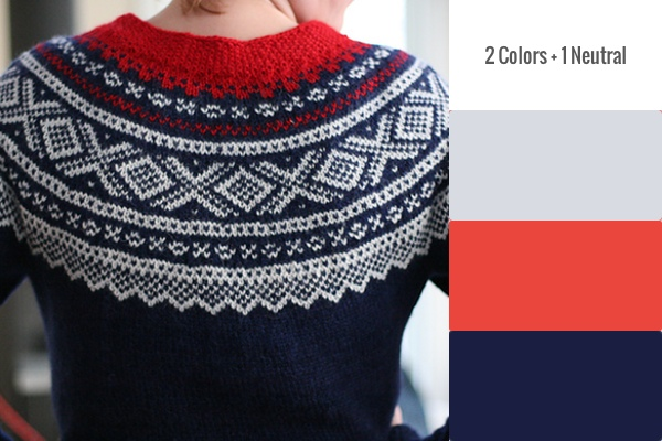 2 Colors + 1 Neutral Pattern: Marius-Genser Rund Sal by Unn Søiland Dale