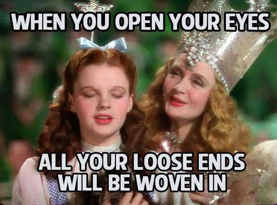Glinda fixes Dorothy's knitting problems