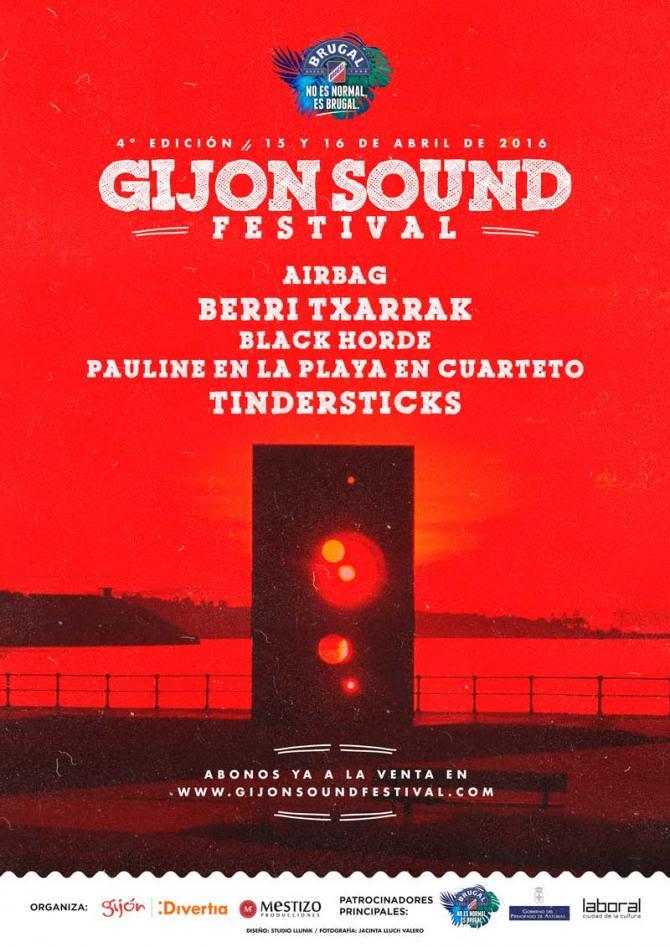 Cartel primeras confirmaciones Gijon Sound Festival 2016 - 30 Días en Bici