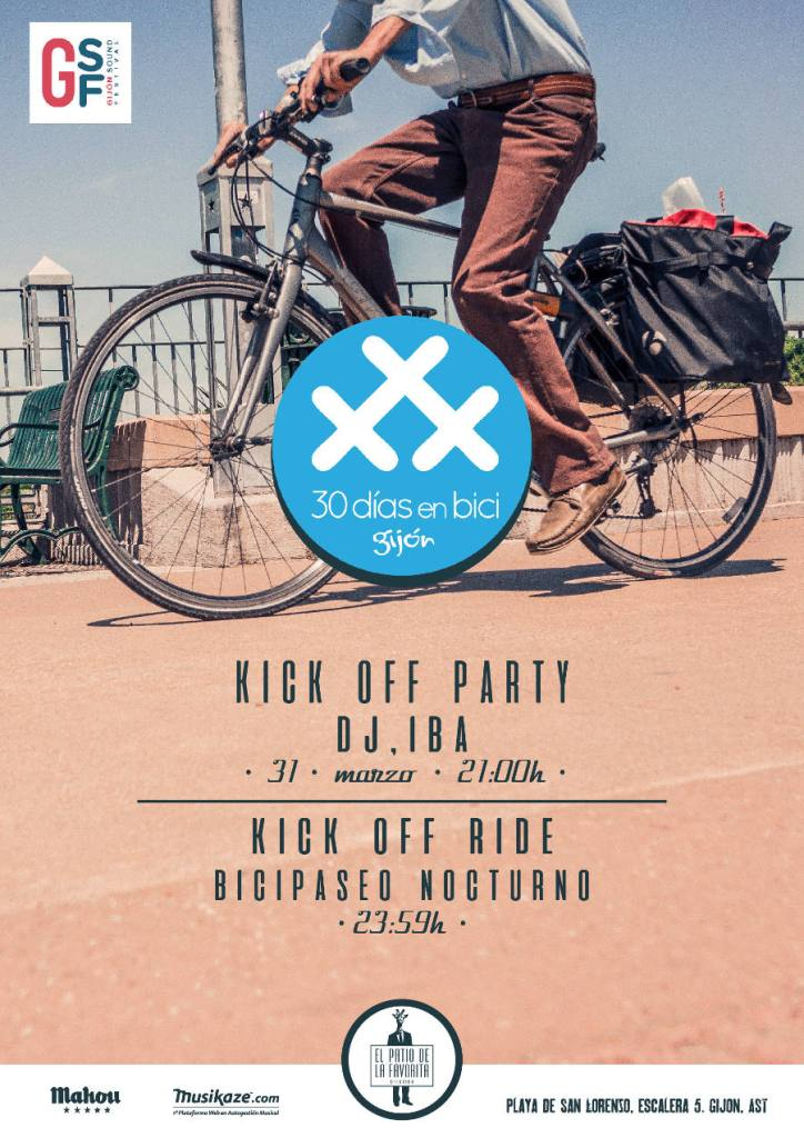 cartel 2017 Kick off party and ride en Gijón - 30 Días en Bici