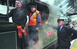The crew of the Emerald Isle Explorer steam train on arrival at Galway Railway Station. (PHOTO: JOE O'SHAUGHNESSY)
