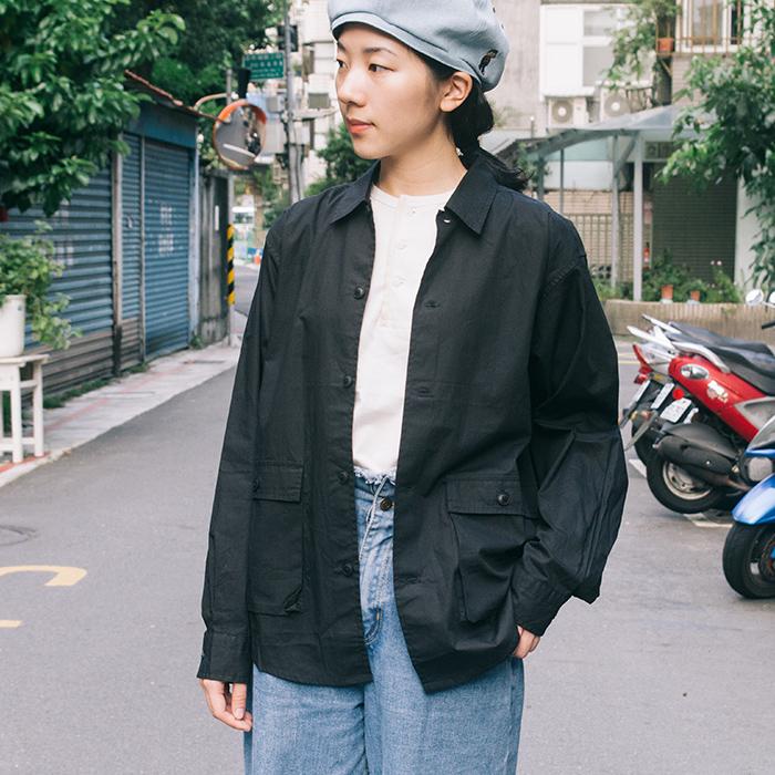 日本立體口袋 薄外套 襯衫兩用(黑)   30select