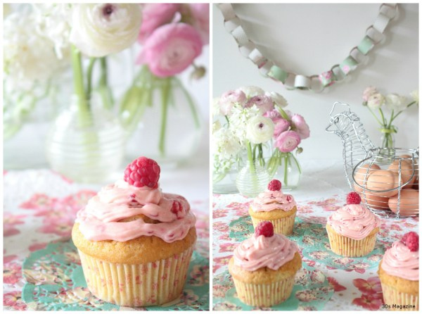 easter raspberry cupcakes