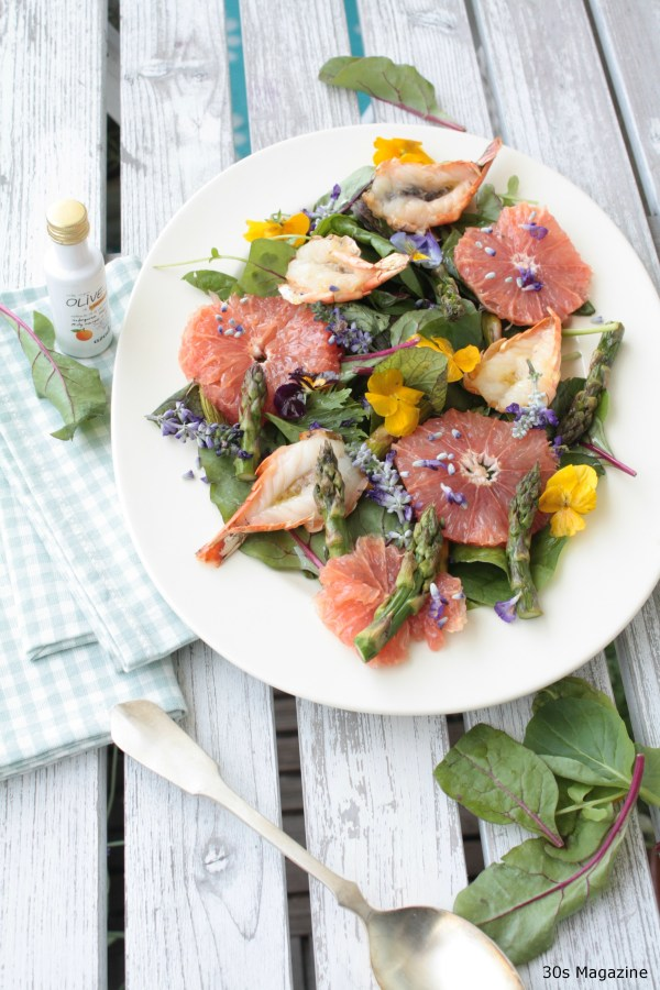 summer salad with king prawn