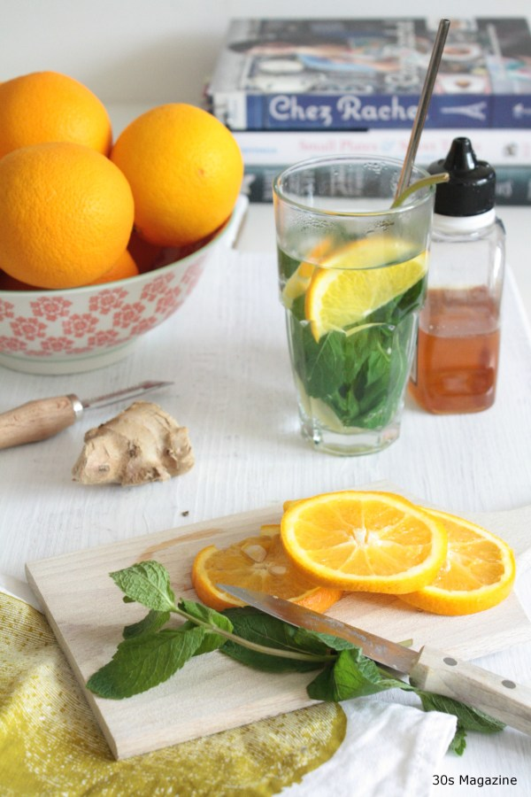 fresh mint ginger tea