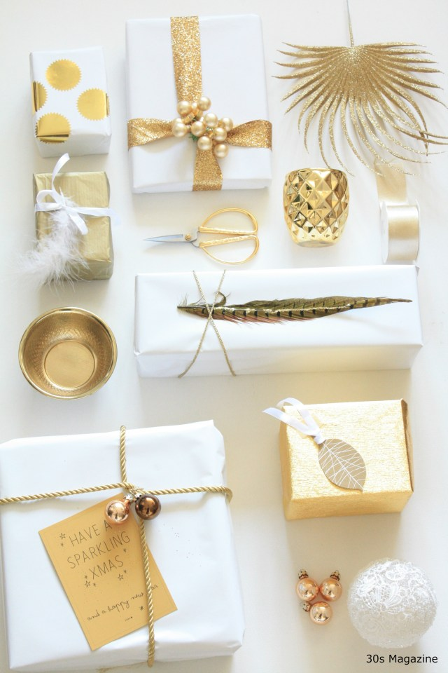 Gift Wrapping in white and gold
