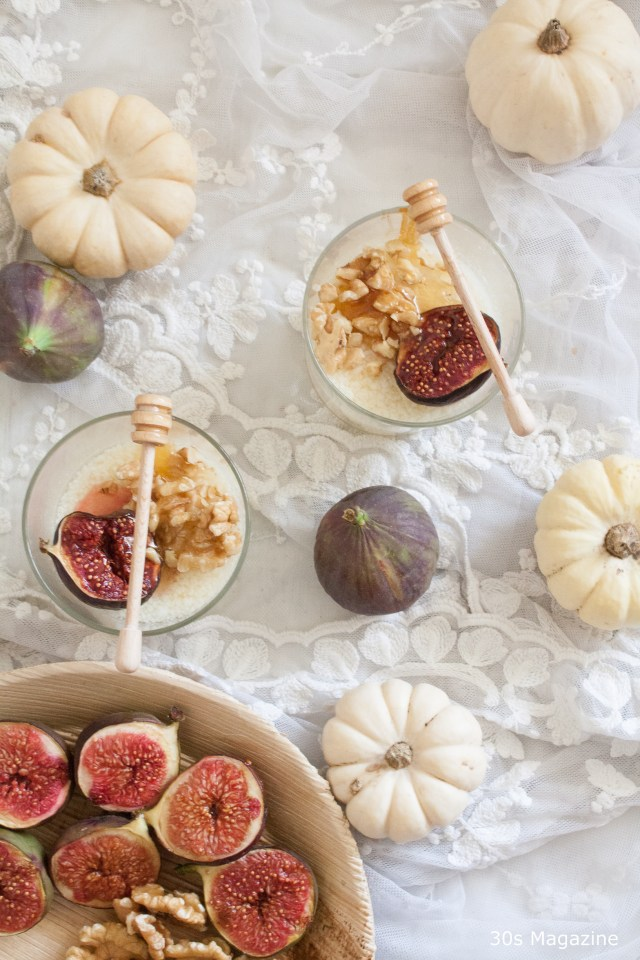 Pannacotta with warm honey-baked figs
