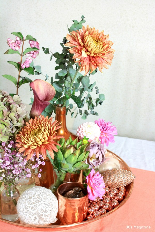 grouped flowers on a tray