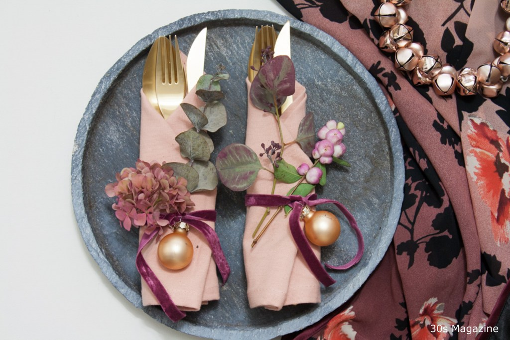 Floral Christmas table setting