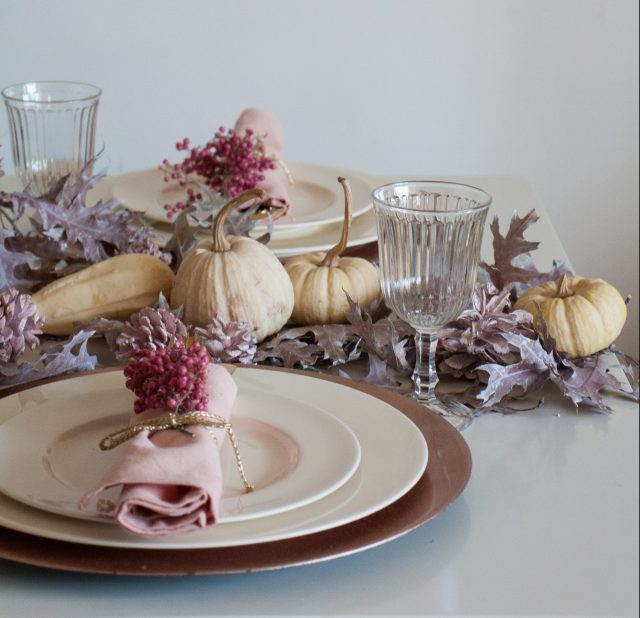 Thanksgiving table decor in pink