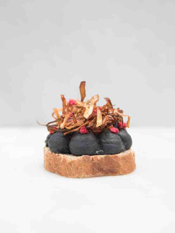 tartine with black bean hummus