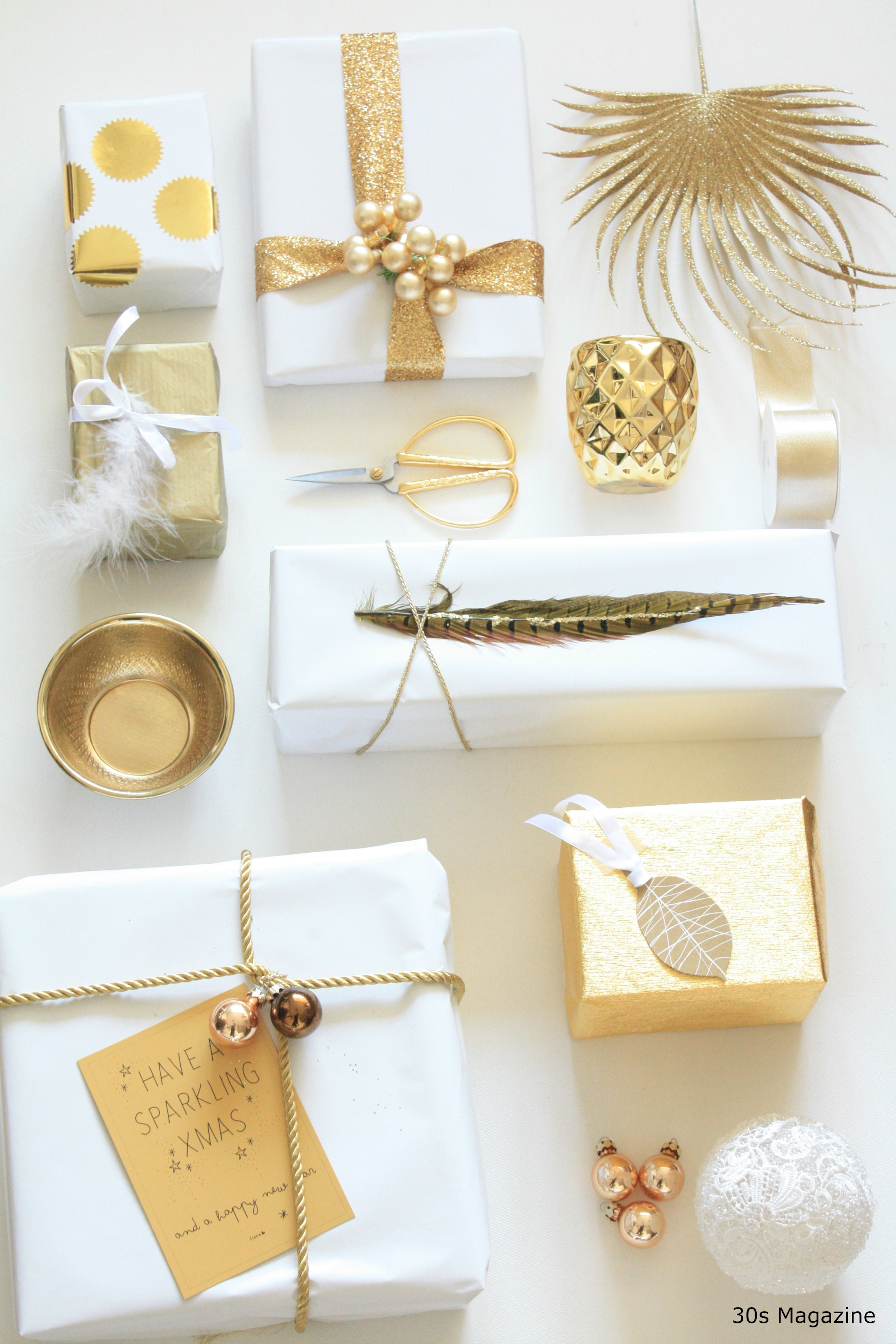 Gift Wrapping in white and gold  30s Magazine