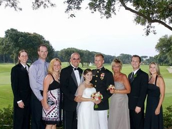 A warm July wedding in Florida.  My brother-in-law is the handsome guy in full dress.