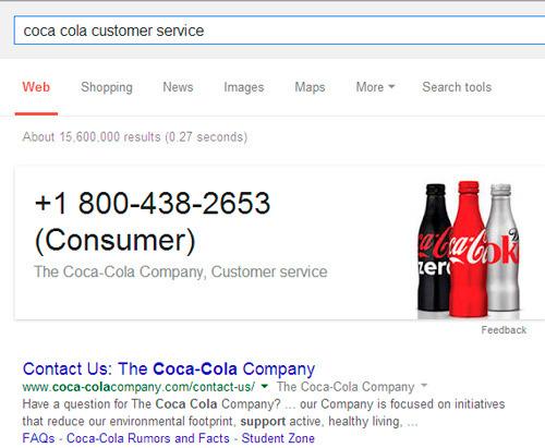 número de teléfono de una empresa en Google: el buscador lo puede mostrar por los fragmentos enriquecidos por ejemplo de Schema