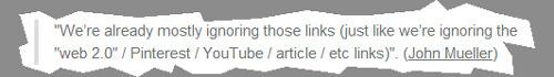 ¿Google ignora enlaces de la web 2.0 y no los utiliza para determinar el ranking de una página web?