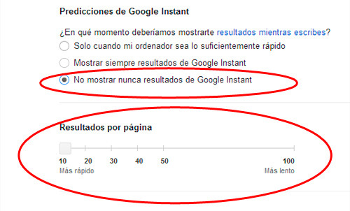 núemro de los resultados que muestra Google