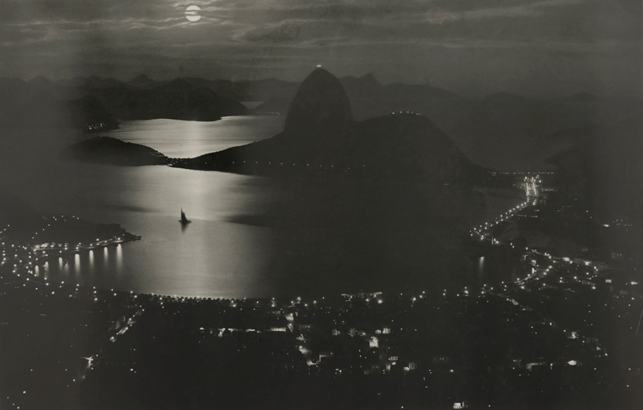 Botafogo Bay and Rio de Janiero at night, September 1920.Photograph by Carlos Bippus, National Geographic