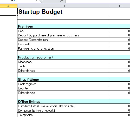 Startup Budget Template Excel