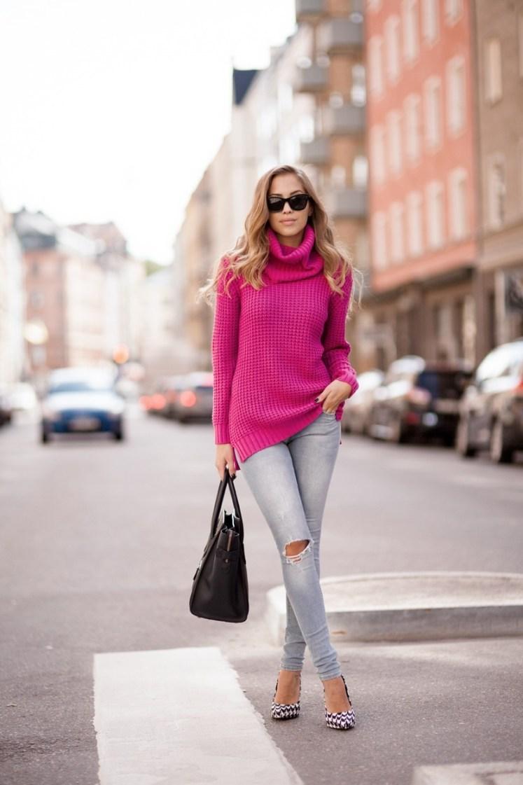 Beautiful pink sweater - perfect fall fashion