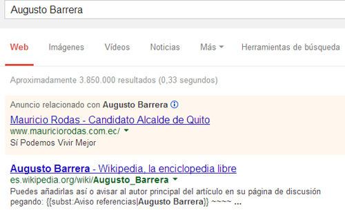 Búsqueda por Augusto Barrera muestra publicidad de Adwords para Mauricio Rodas