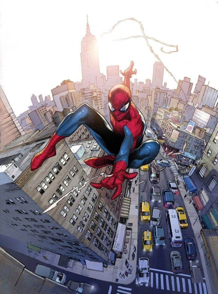 failed-mad-scientist:Spider-Man - Oliver Coipel#art #comics #Spider-Man #Oliver Coipel #NYC #Peter Parker #Marvel