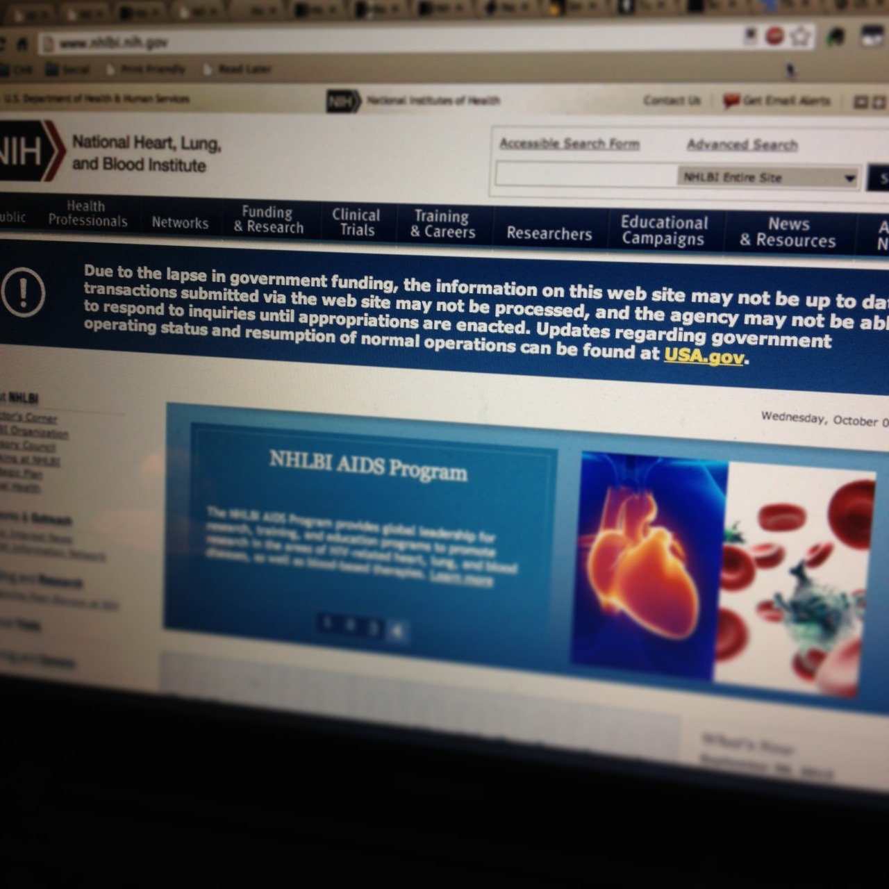 NHLBI National Heart Lung and Blood Institute home page government shutdown