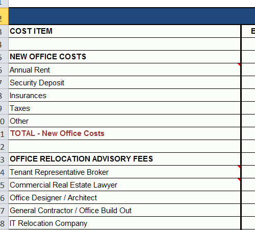 office relocation budget spreadsheet template