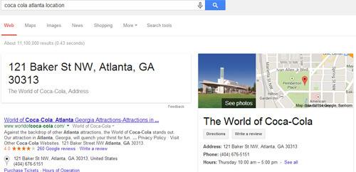 búsqueda local Google: ejemplo Atlanta