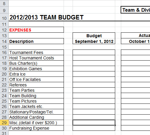 Sports team budget template spreadsheet for Sports team roster template