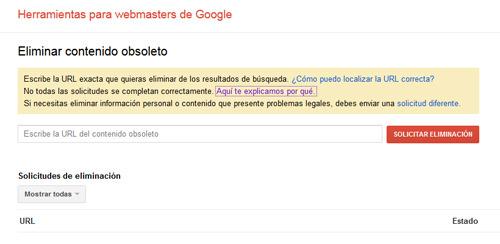 herramienta de Google para eliminar páginas web o contenidos de su índece