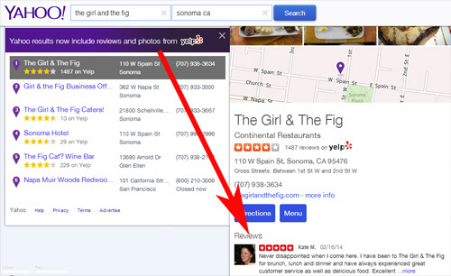 Yahoo local con coemntarios de Yelp